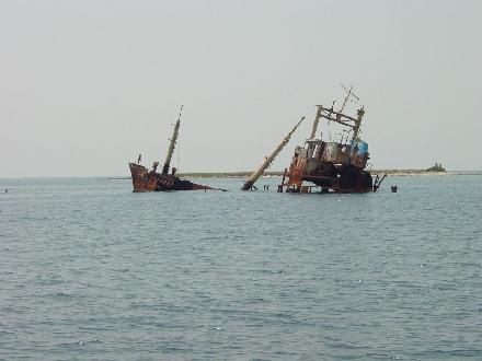 Potopljena ladja ob otoku Vele Lagne (severni del Dolgega Otoka)